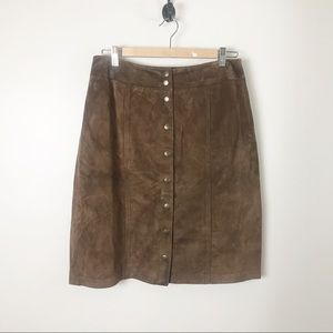 Vintage Suede Leather Button Front Skirt